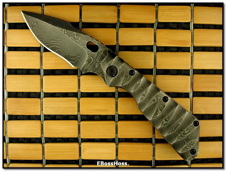Mick Strider MSC Damascus / Titanium XL SnG - Shark Fin Grind