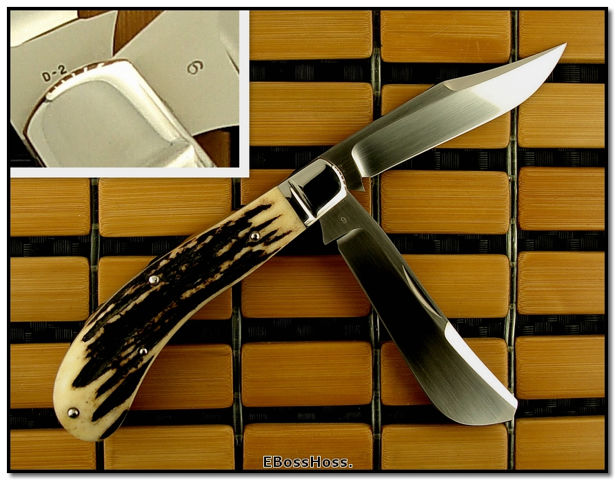 Tony Bose 3 7/8-inch 2-Blade Saddlehorn Trapper - Stag