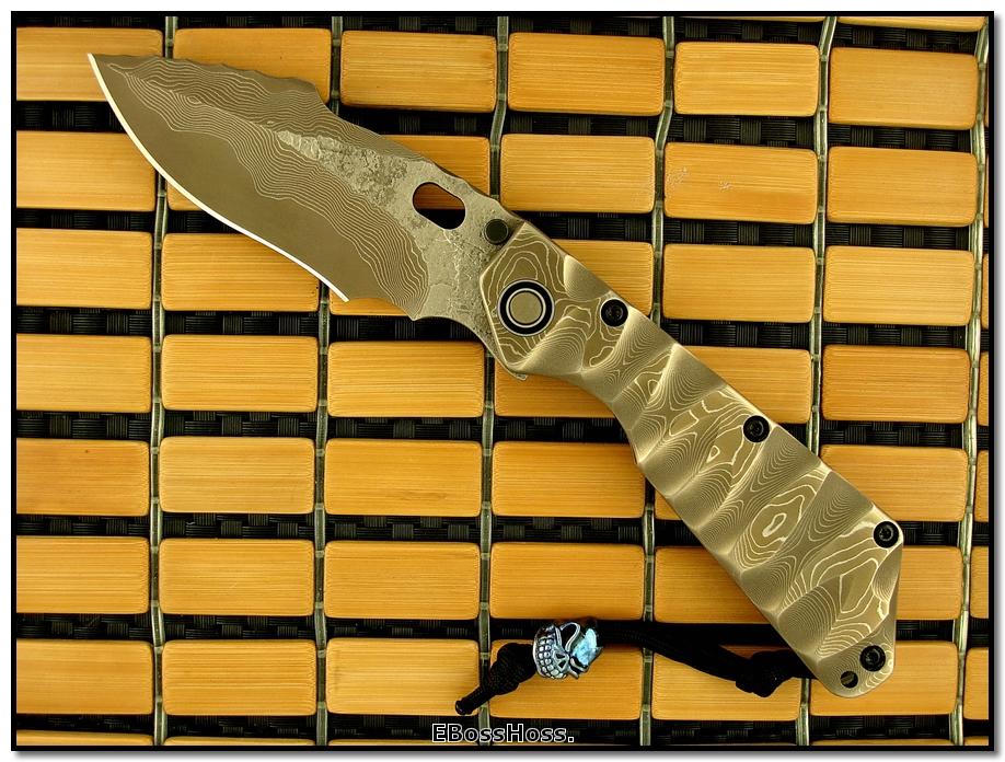 Mick Strider MSC All-Damascus XL SnG Prototype w/New Bearing Pivot.