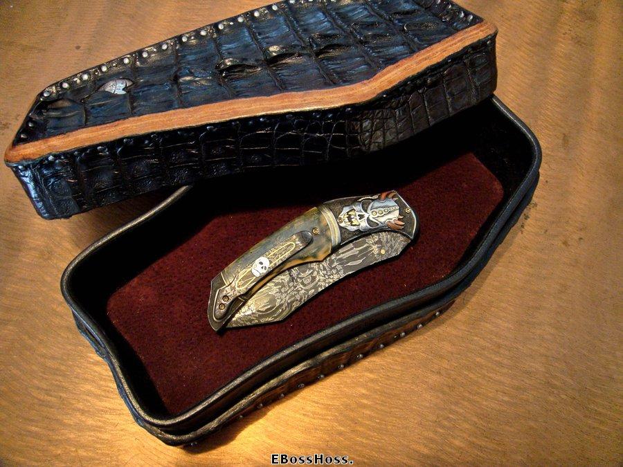 "Greg Everett Hand-made Black Gator ""Coffin"" Box"