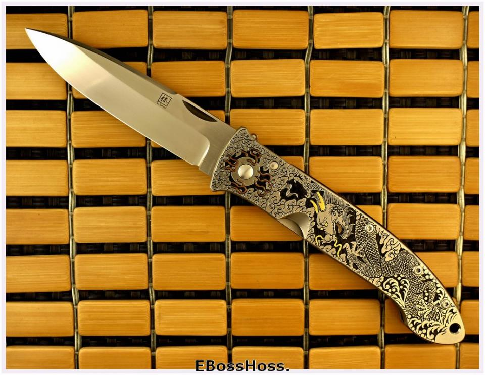 Bob Lum XL Folding Stalker w/LAWKS; Masterfully Engraved by CJ Cai