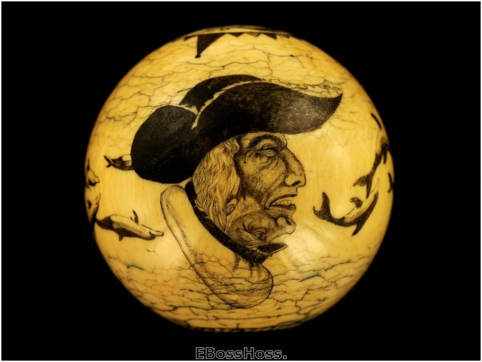 Roni Deitrich Scrimed Antique Ivory Cue Ball