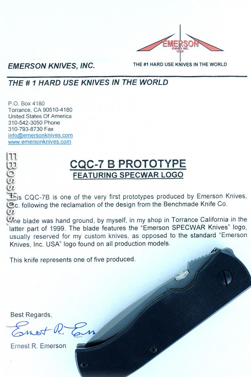Ernie Emerson Custom Milspec CQC-7 B Prototype w/Serrate