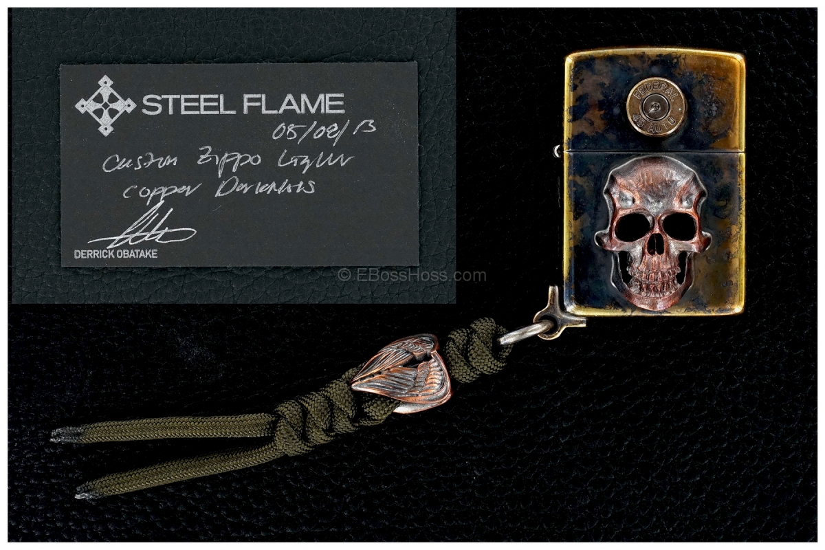 Steel Flame Custom Copper Darkness Zippo w/ Wings