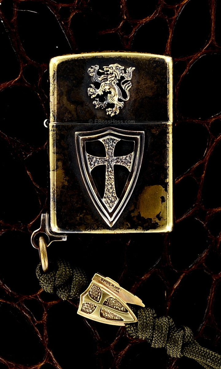 Steel Flame Custom Crusader Lion Cross Zippo w/Cross Bead