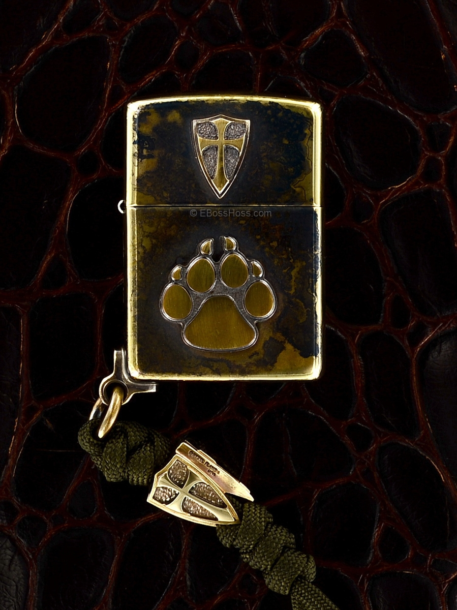 Steel Flame Bronze Cursader - Dog Paw Zippo w/Tri-Cross Bead