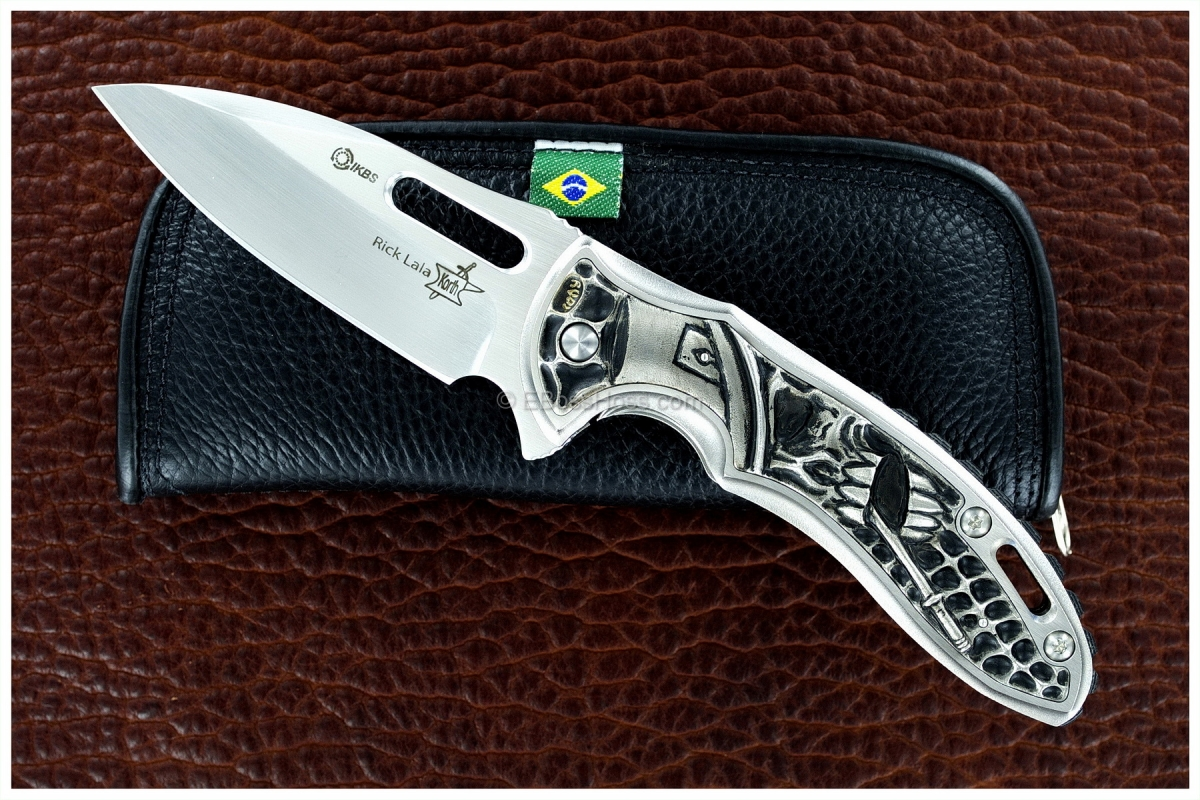Korth Cutlery Carved Sentry Flipper by Rick Lala, Carved by Rudy Lala