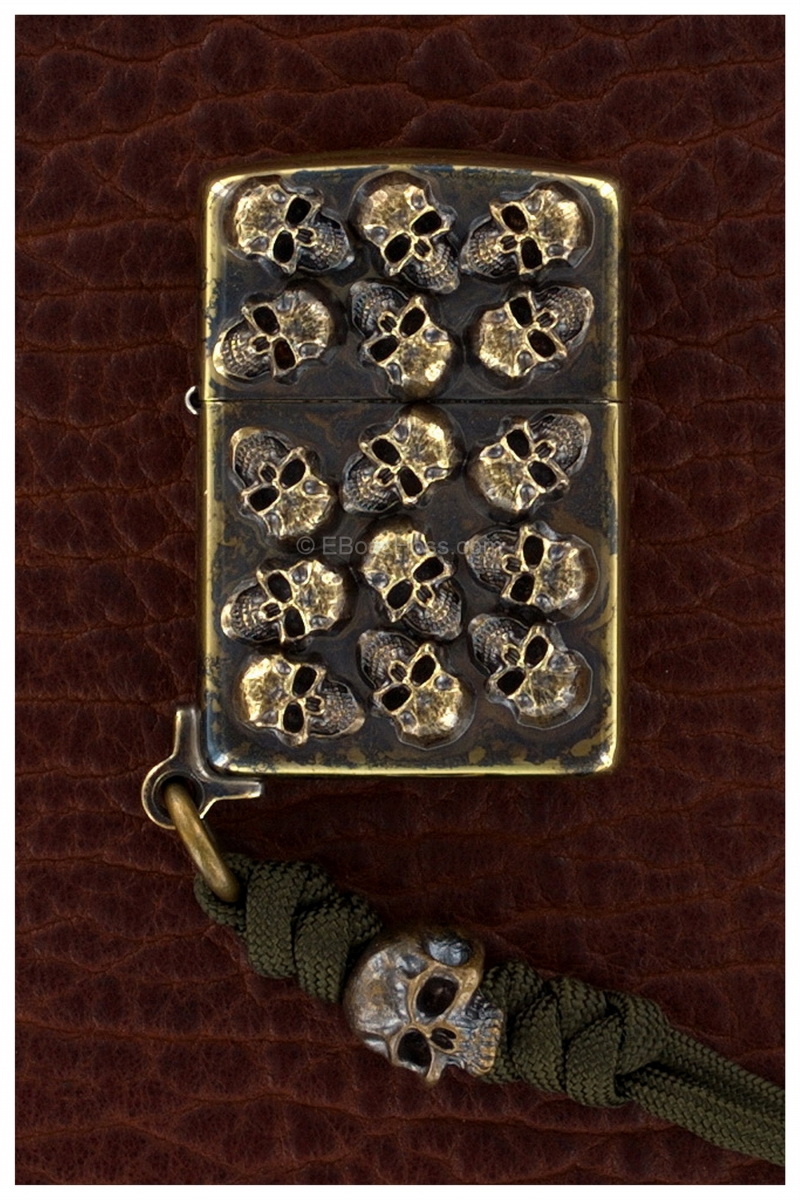 Steel Flame Custom Bronze Pile of Skulls Zippo