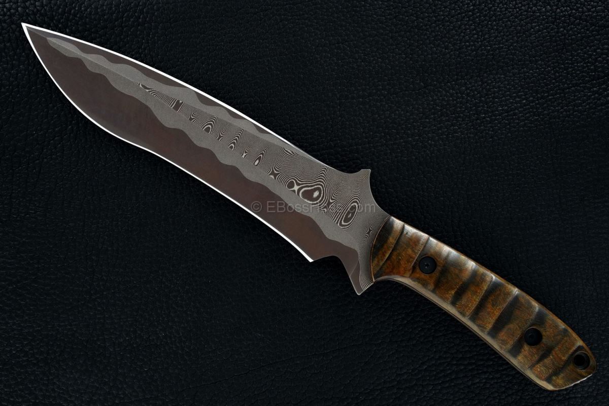 Mick Strider Custom (MSC) Sole-Authored San Mai Brown Damascus Short Sword