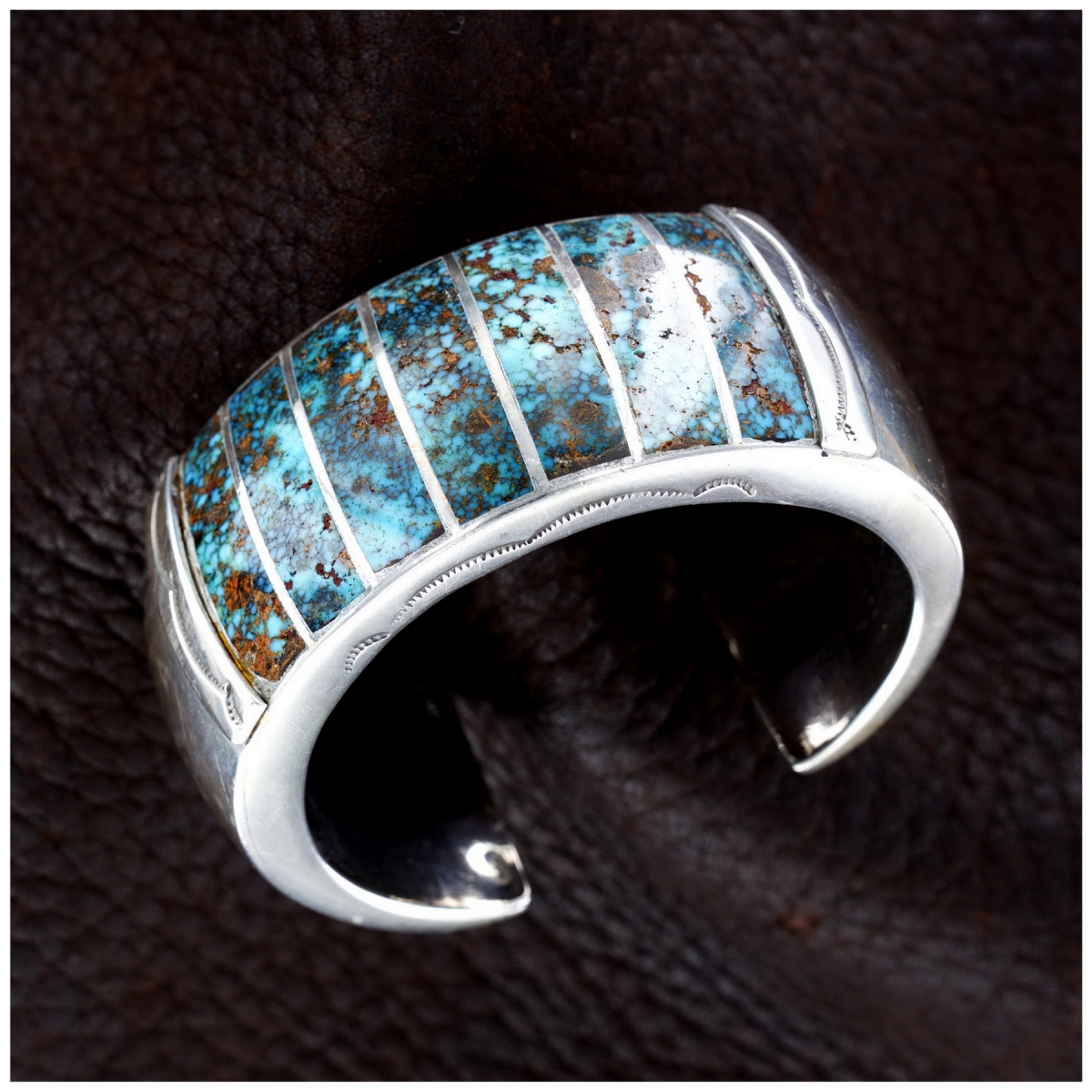 Mary Morgan Bisbee-Turquoise & Sterling-Silver Woman's Navajo Cuff Bracelet