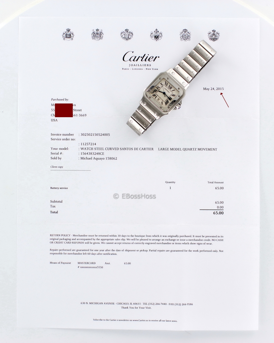 Cartier Curved Large Santos De Cartier - Model No. W20060D6