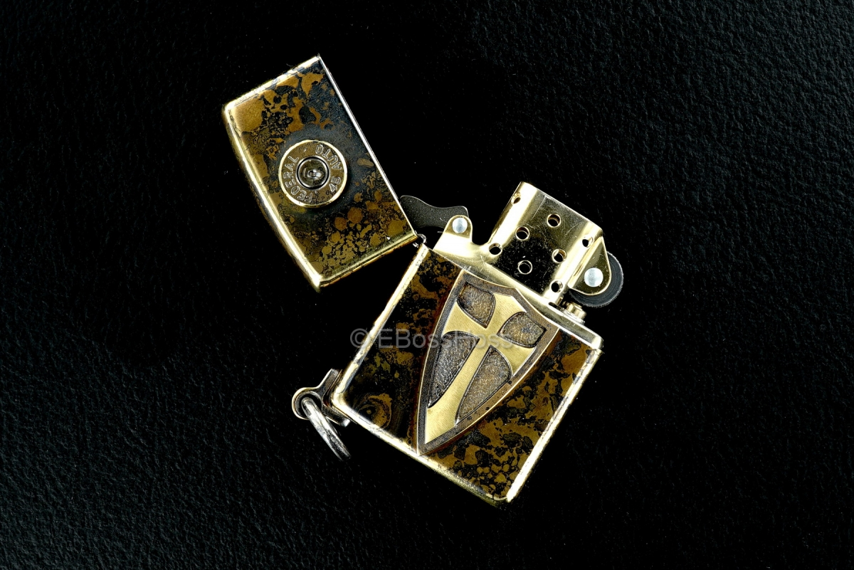 Steel Flame Custom Crusader Lion Cross Zippo w/Federal 45
