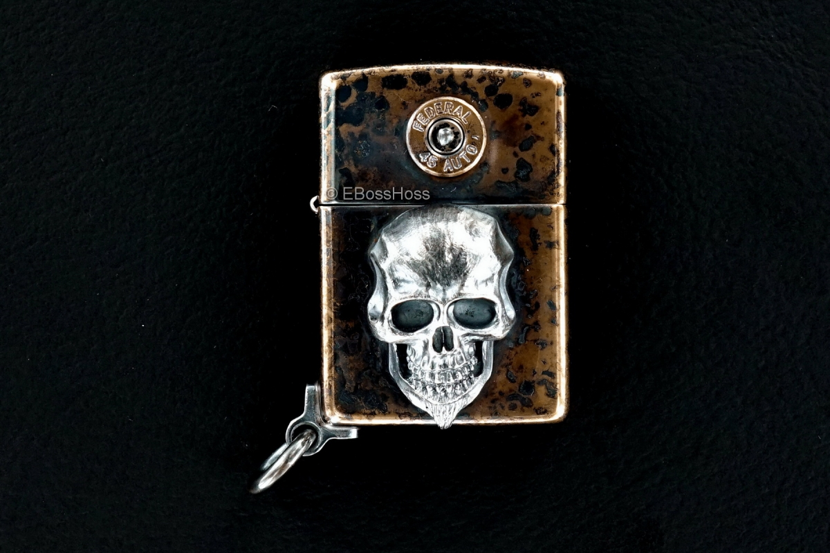 Steel Flame Custom XL Sterling Silver Darkness Zippo by Derrick Obatake