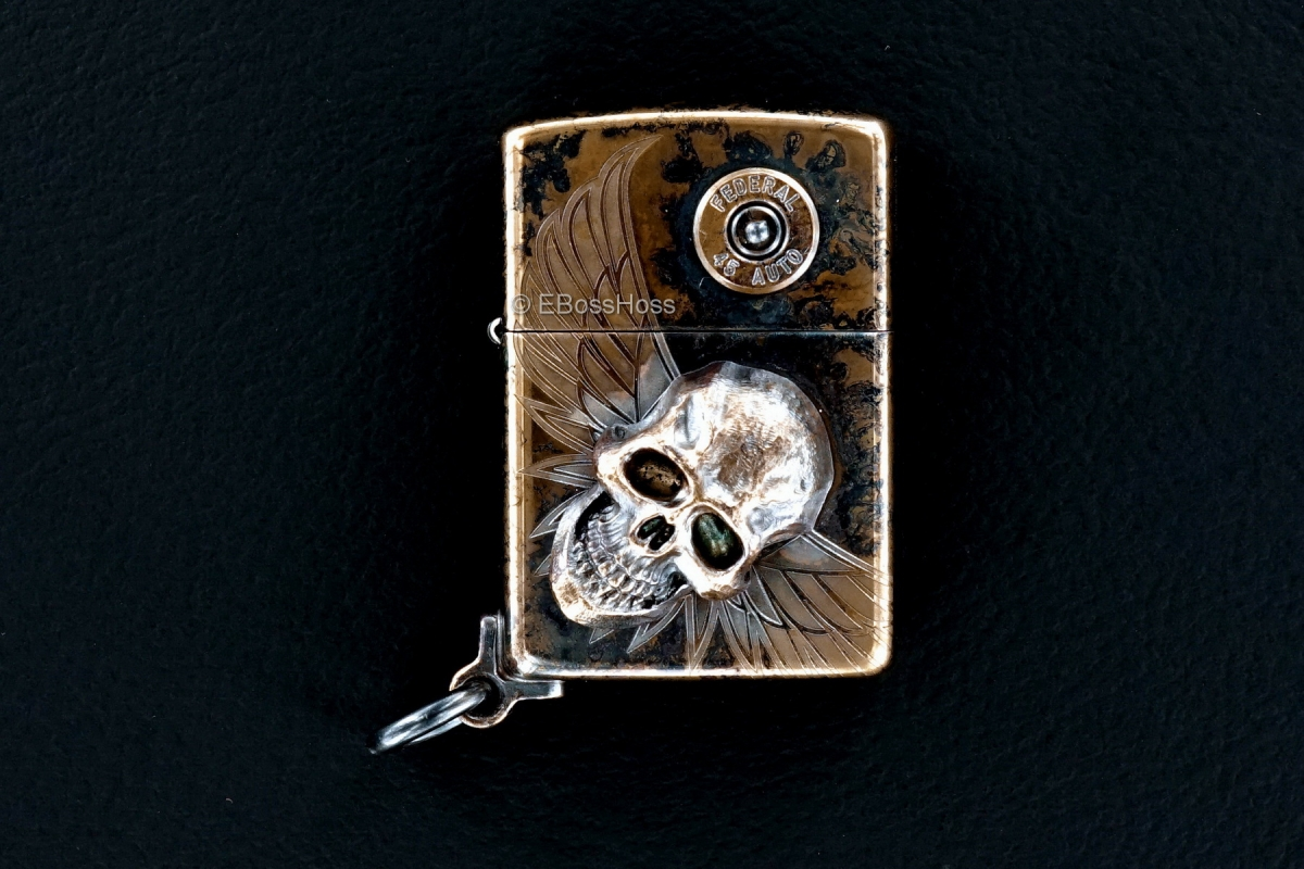 Steel Flame Custom XL Bronze Darkness Zippo by Derrick Obatake