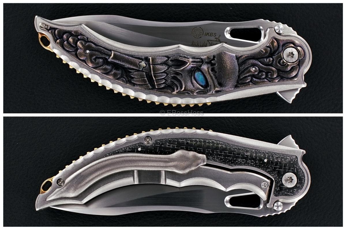 Korth Cutlery Custom Carved Cigar-Smoking Skull Reptile Flipper