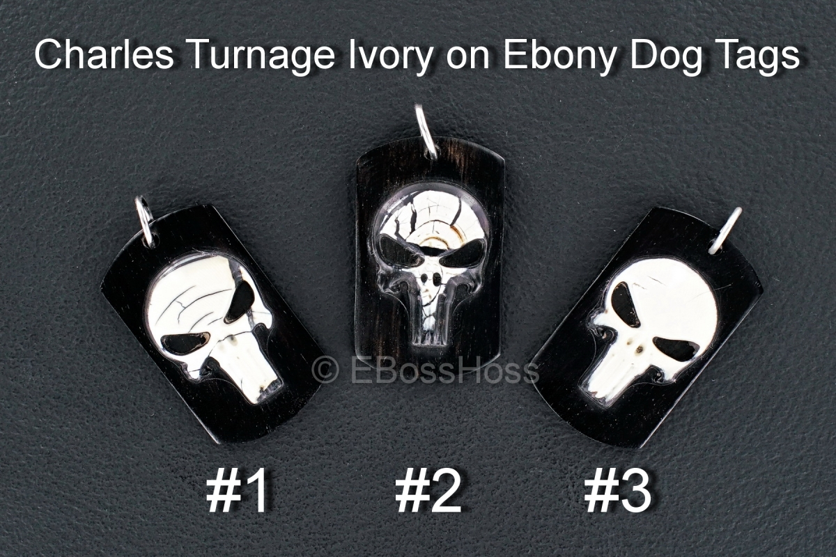 Charles Turnage 3-D Ivory on Ebony Custom Dog Tags