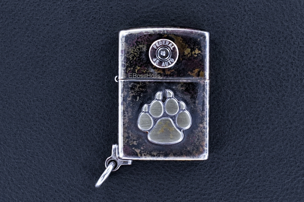 Steel Flame Bronze Dog Paw / Federal 45 Zippo Lighter