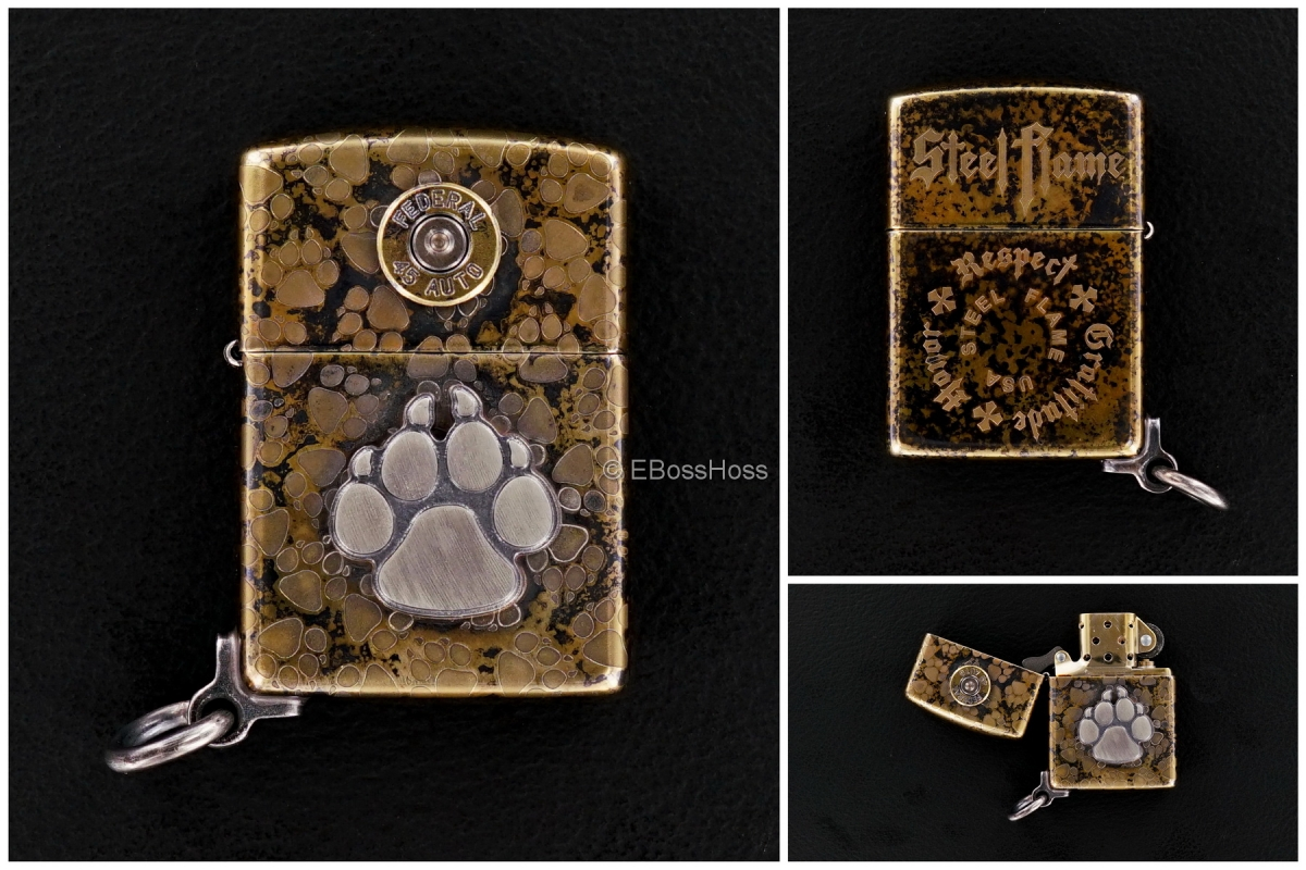 Steel Flame Dog Paw - Federal 45 Bronze Zippo Lighter with Attached Ring