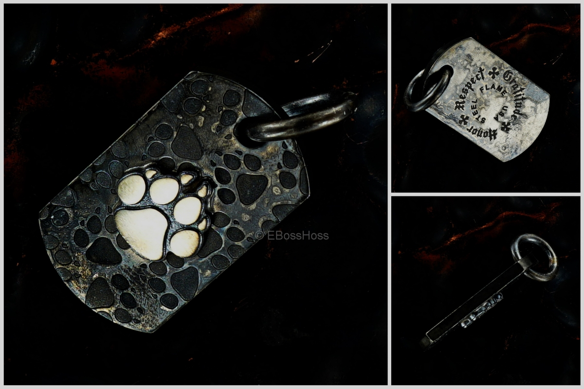 Steel Flame Dog-Paw Dog-Tag / Key-Fob