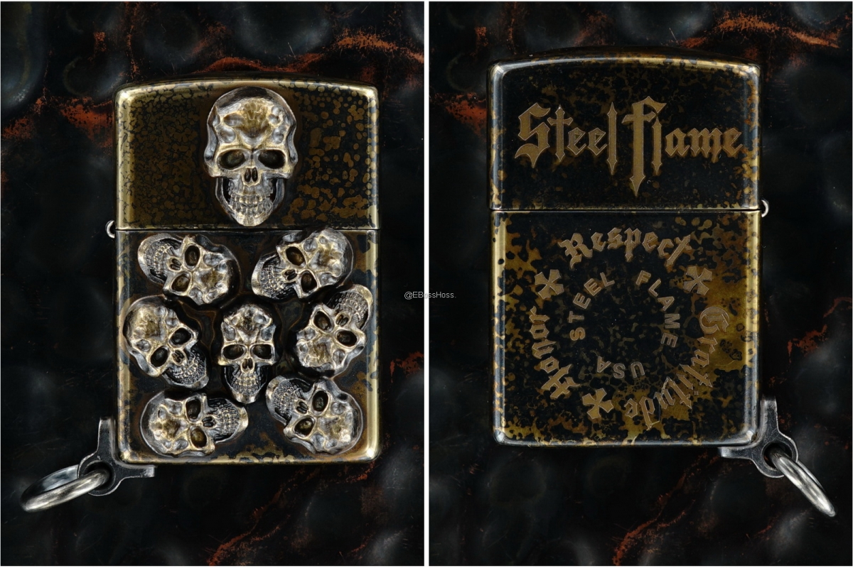 Steel Flame One-Off Custom Bronze Pile of Skulls Zippo