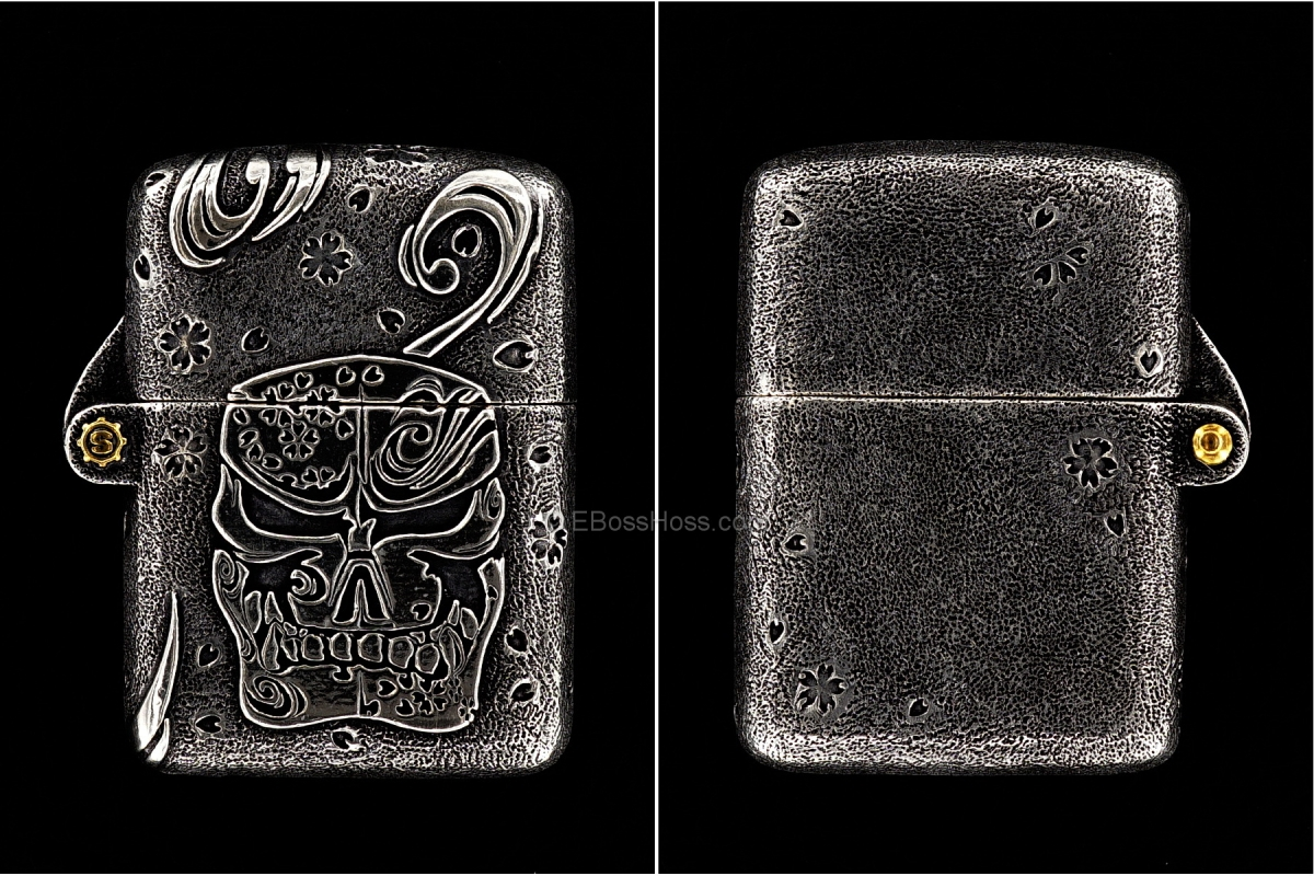 Starlingear Custom Cast Sterling-Silver Sakura Zippo Lighter