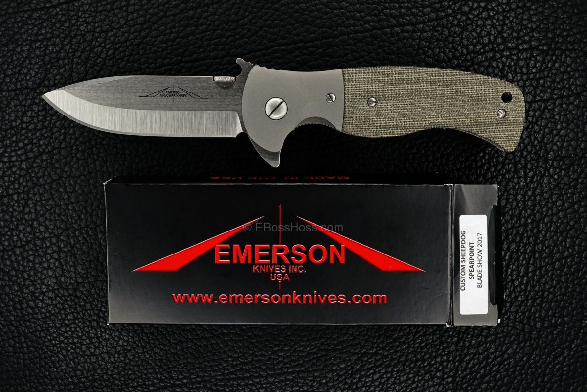 Ernie Emerson Custom Bolstered Sheepdog Spearpoint FLIPPER