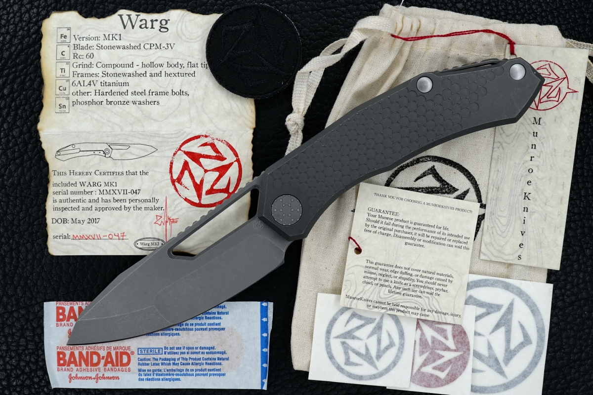 D Munroe Custom Hextured Warg MK1 Framelock Folder