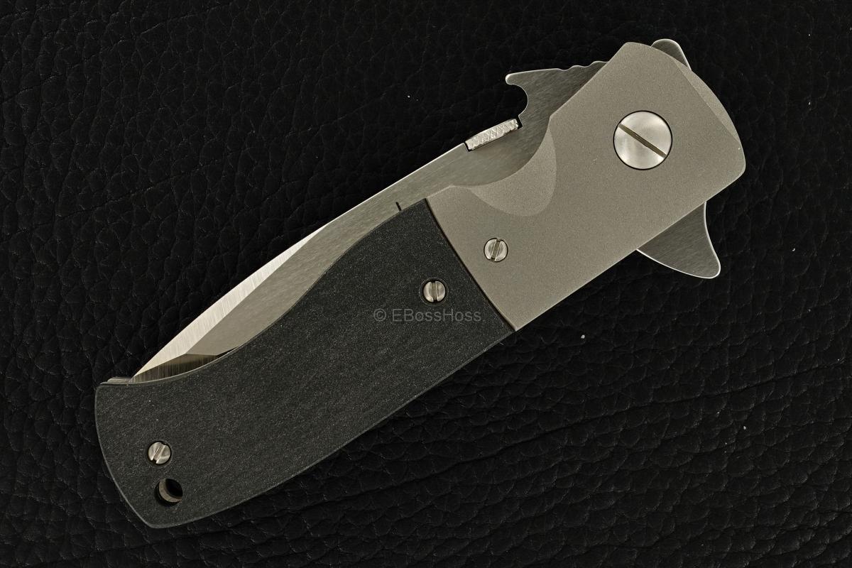 Ernie Emerson Custom Black-handled CQC-7 Flipper w/Wave