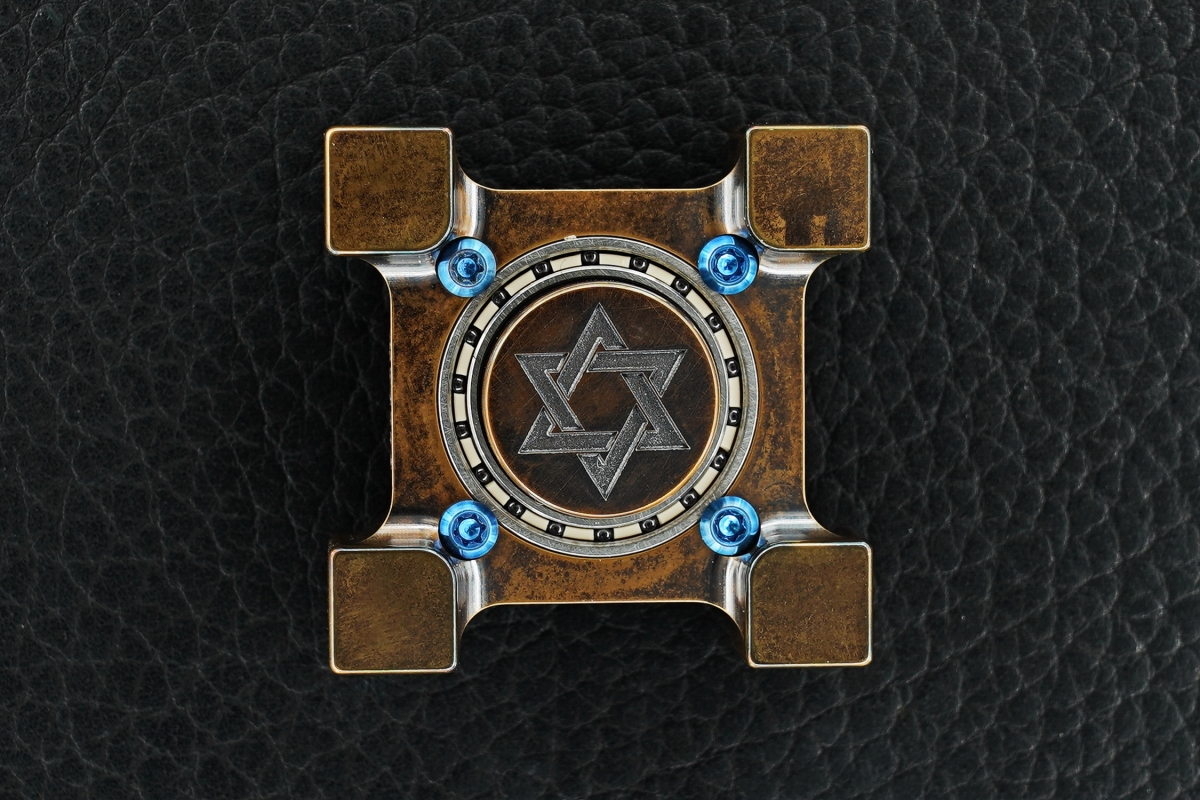 Steel Flame Dreidel Ring Spin KillboX with Star of David Slug