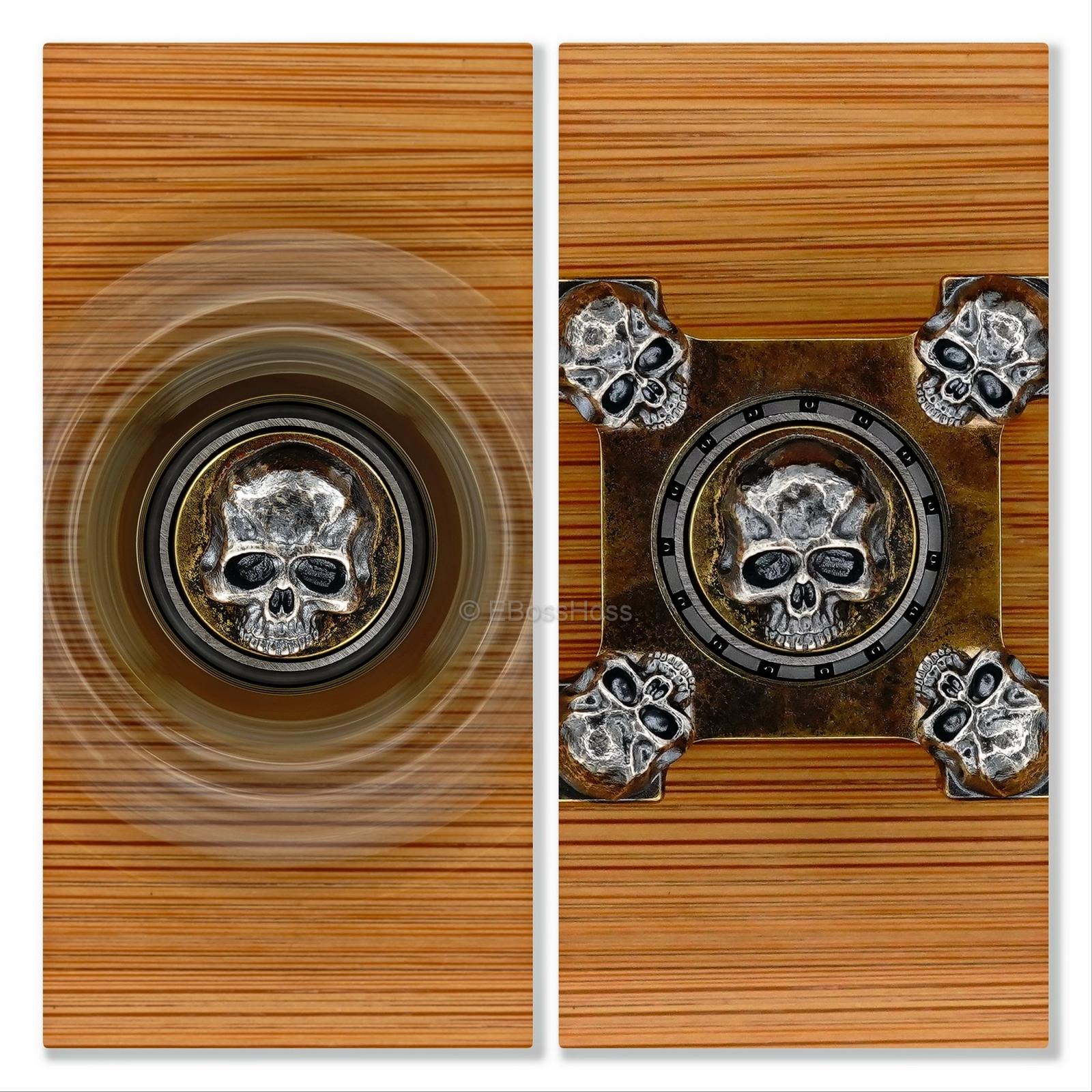Steel Flame 3-D Sterling Silver Large Warrior Skulls Ring Spin KillBoX