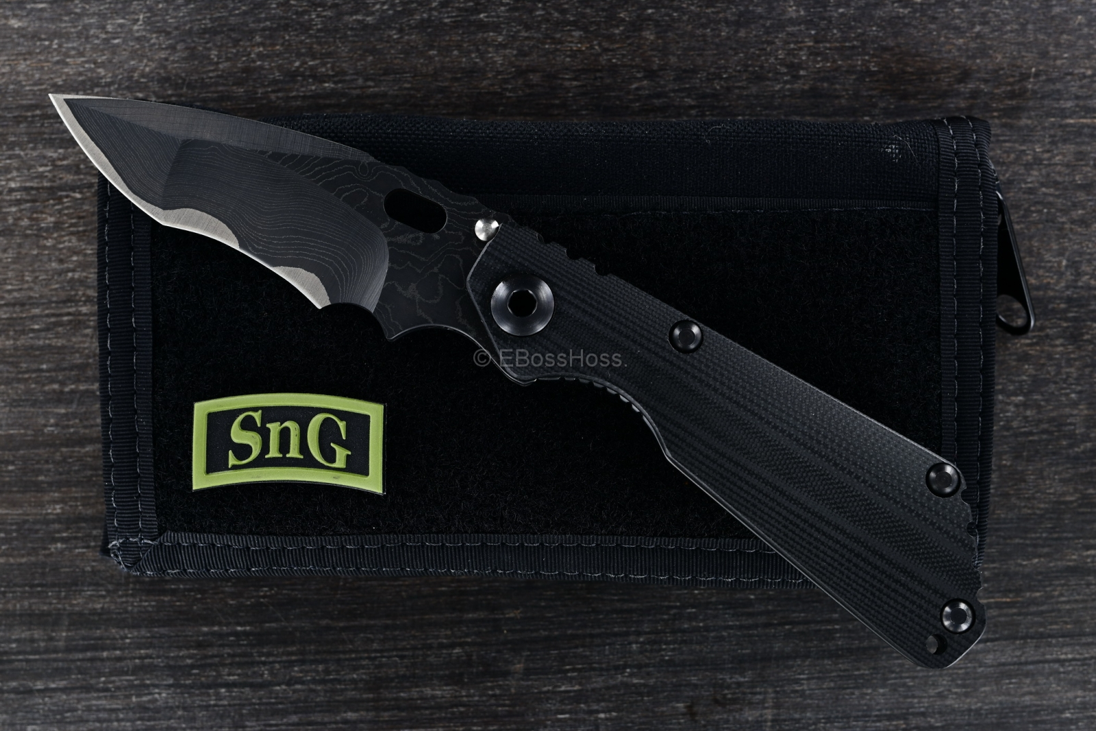 Mick Strider Custom (MSC) Stellite-core San Mai Damascus Nightmare SnG