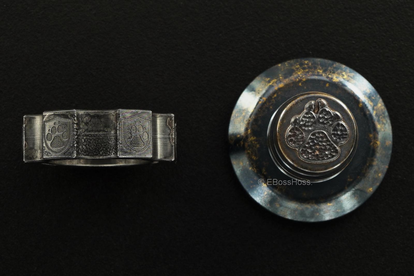 Steel Flame Cog Ring-Spin w XL 3-D Stippled Dog-Paw Slug