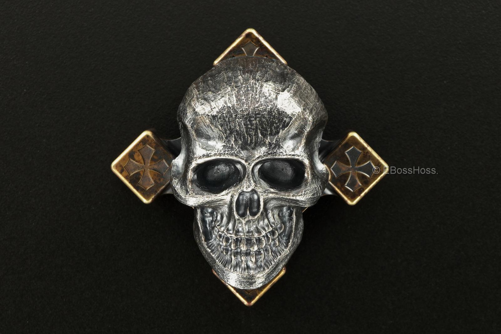 Steel Flame Giant Darkness Skull SLEDGE Ring Spin with XL 3-D Warrior Skull Slug