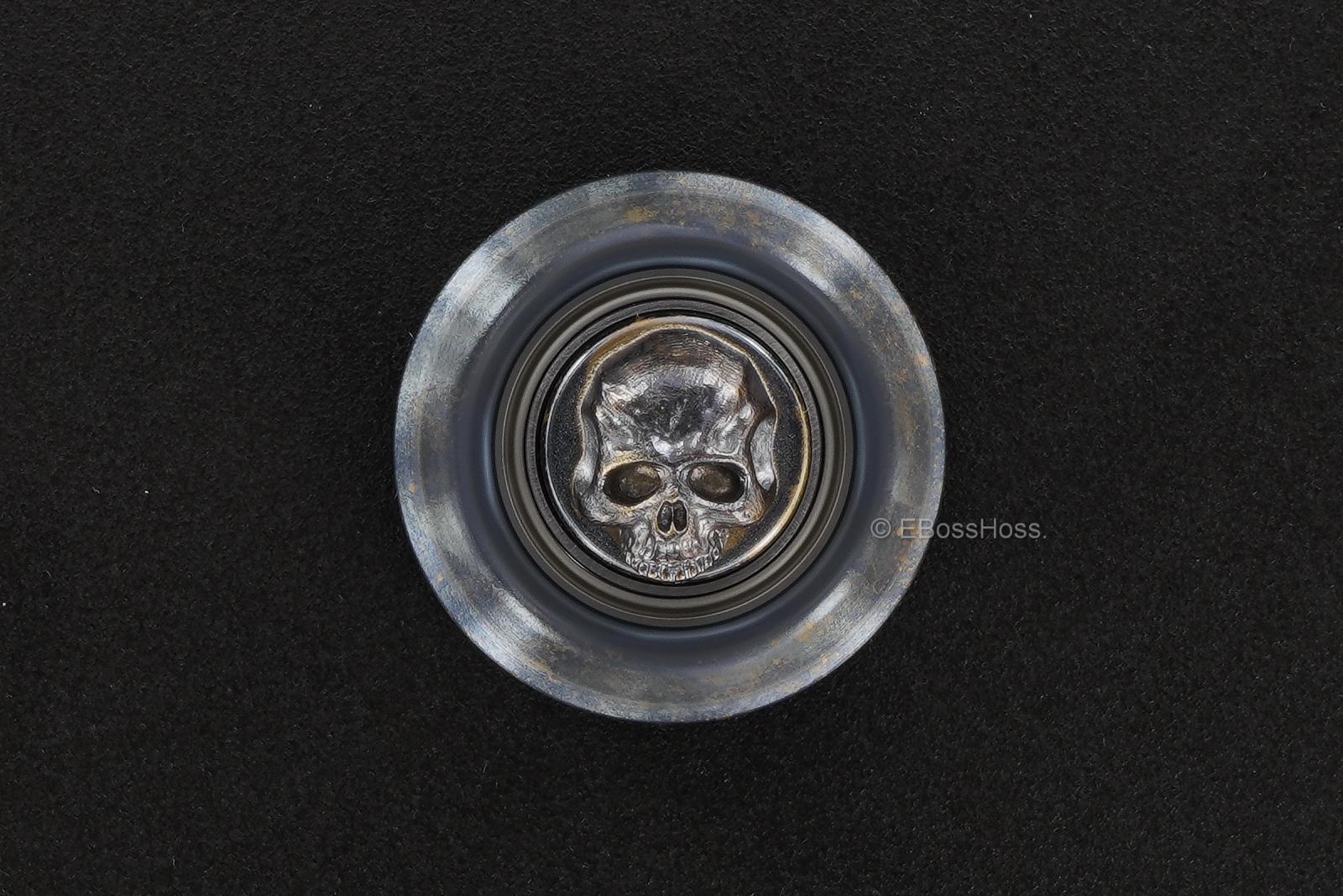 Steel Flame Cog Ring-Spin w/ an XL 3-D Hand-Stippled Silver Dog-Paw Slug