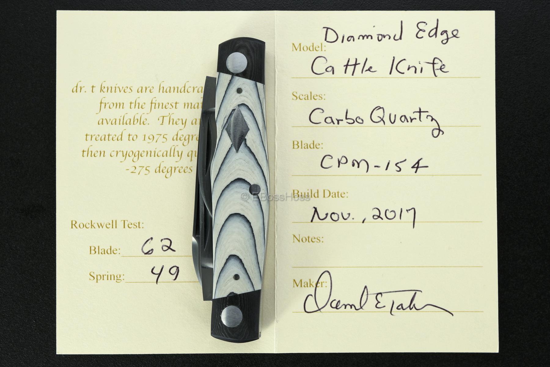 Dr T Knives / Tabor Custom Carbo-Quartz Diamond Cattle Knife Slip Joint