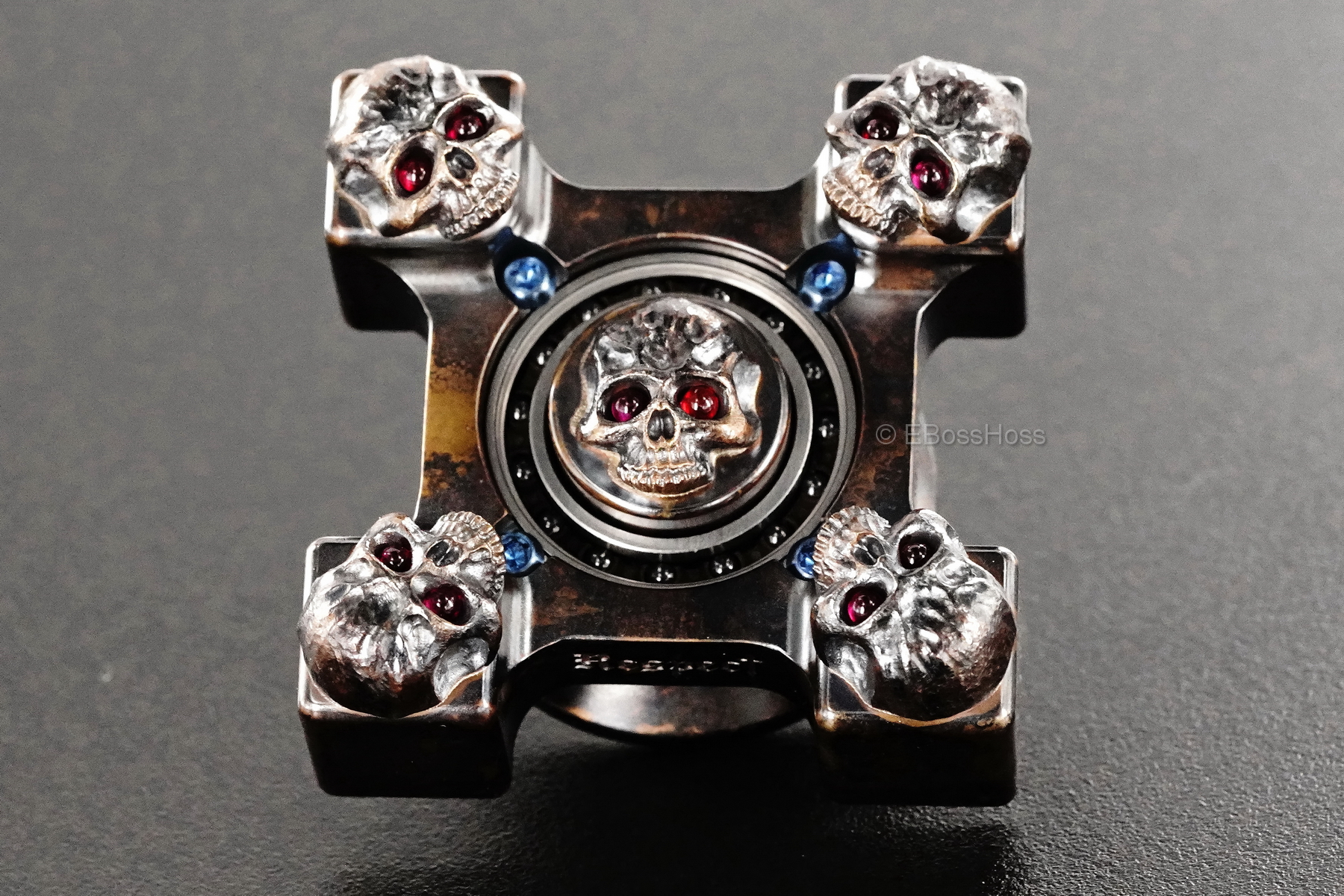 Derrick Obatake Steel Flame Custom SLEDGE XL 3-D Bronze Warrior Skulls Ring Spin
