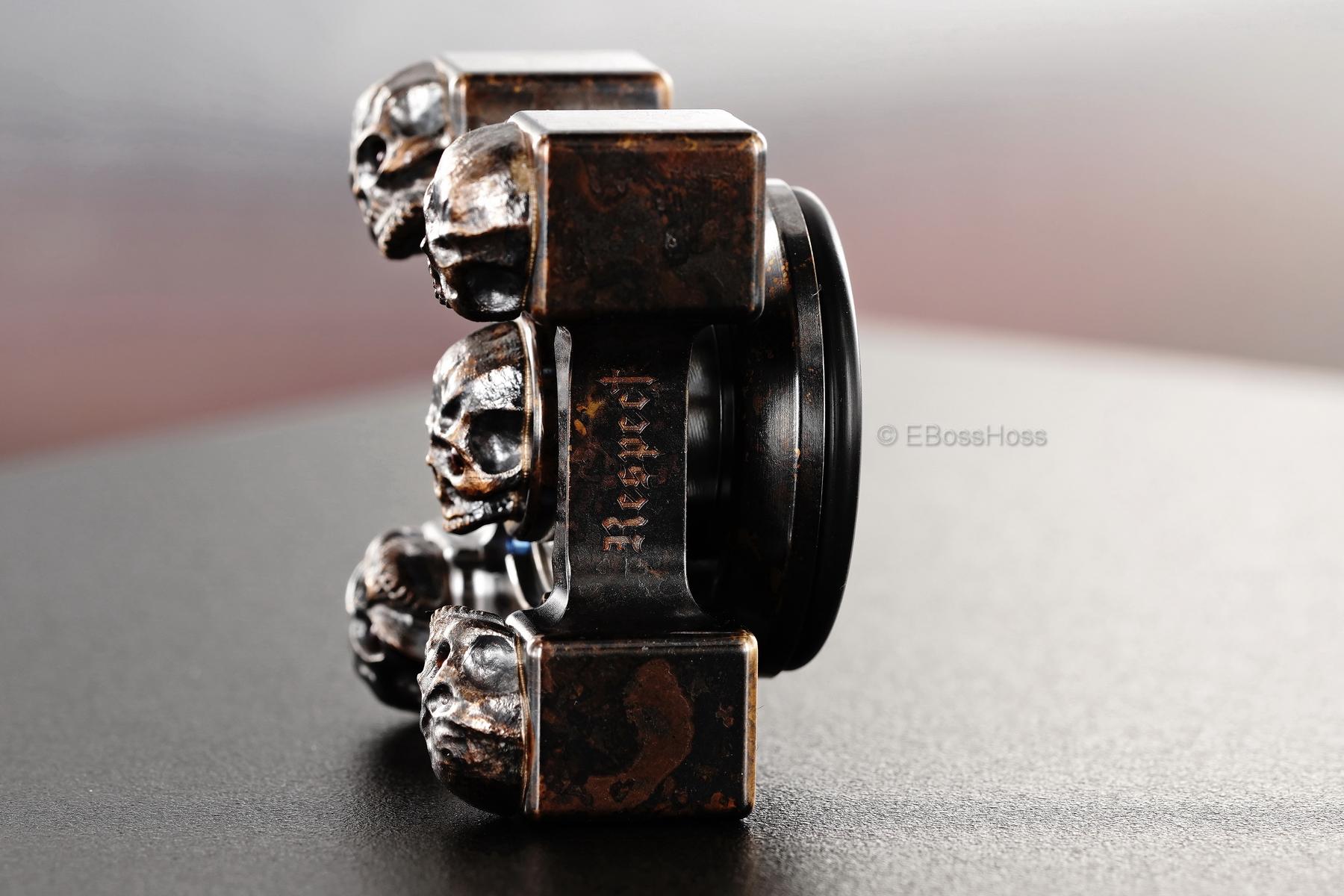 Steel Flame Executive SLEDGE XL 3-D Bronze Warrior Skulls Ring Spin