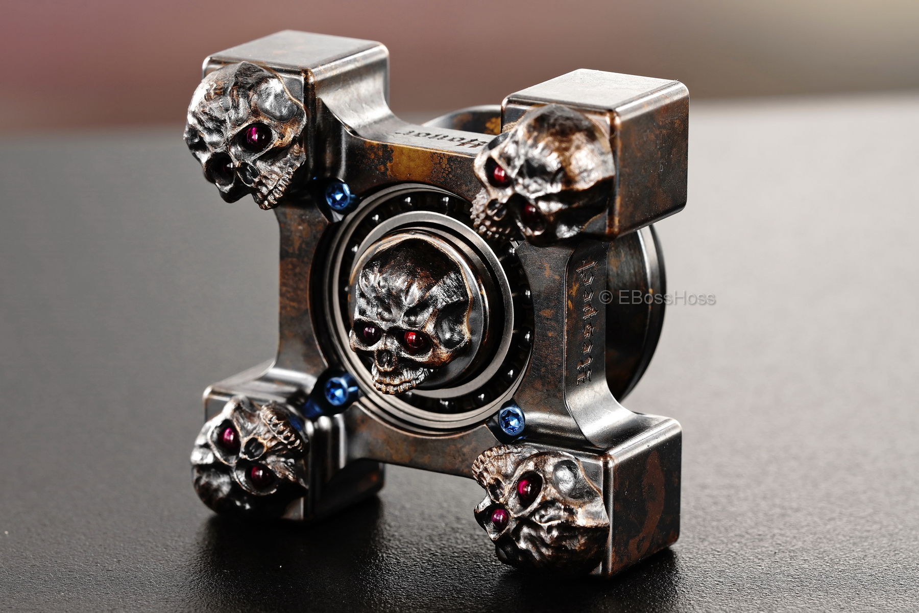 Steel Flame Executive SLEDGE XL 3-D Bronze Warrior Skulls Ring Spin