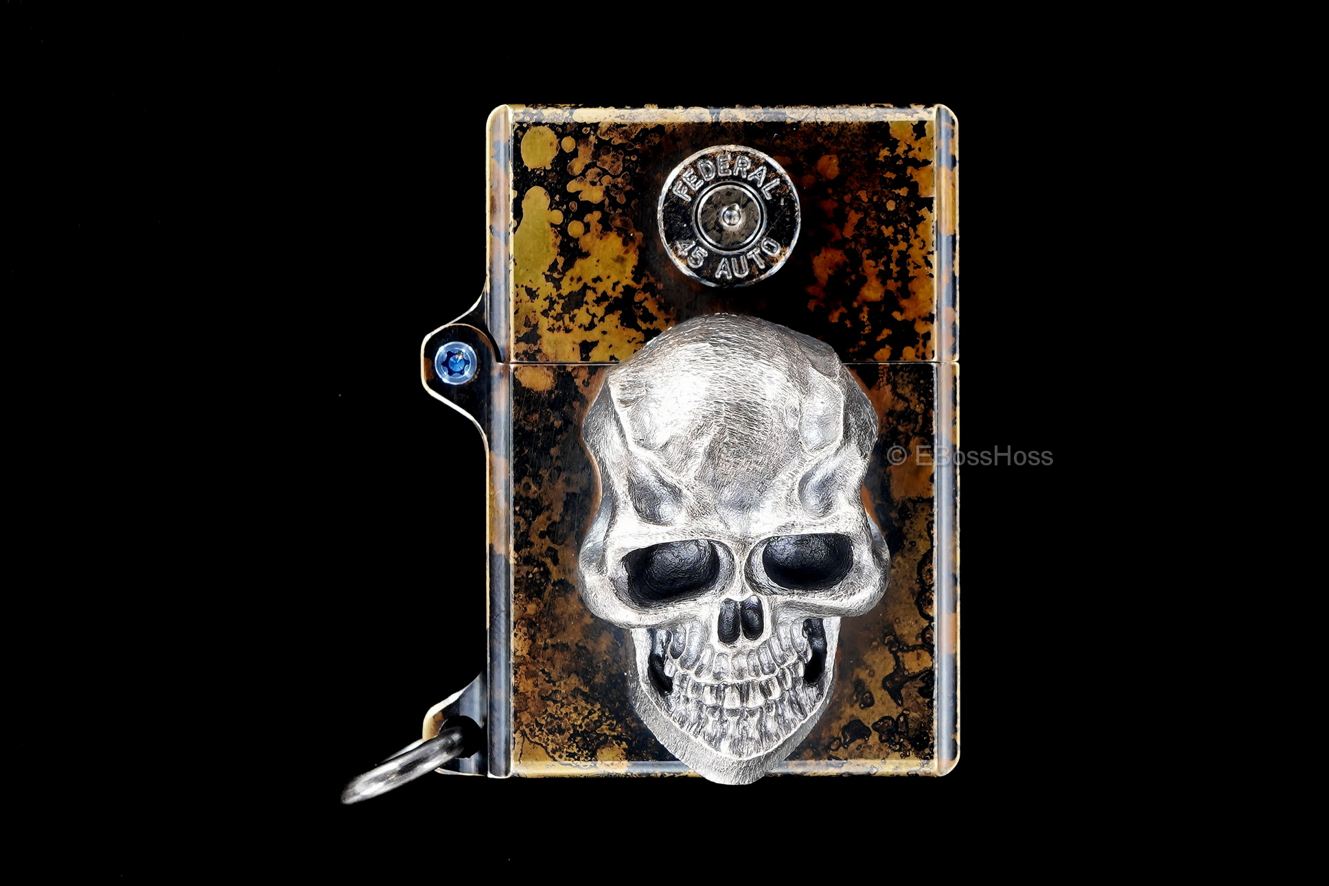 Steel Flame Custom Sledge Lighter ONE - with XXX Darkness Sterling Silver Skull by Derrick Obatake