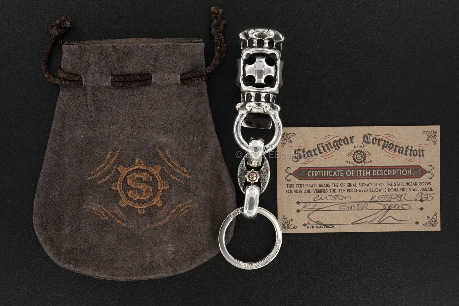 Starlingear Custom Sterling-Silver Cyber Cross Keeper Key Chain
