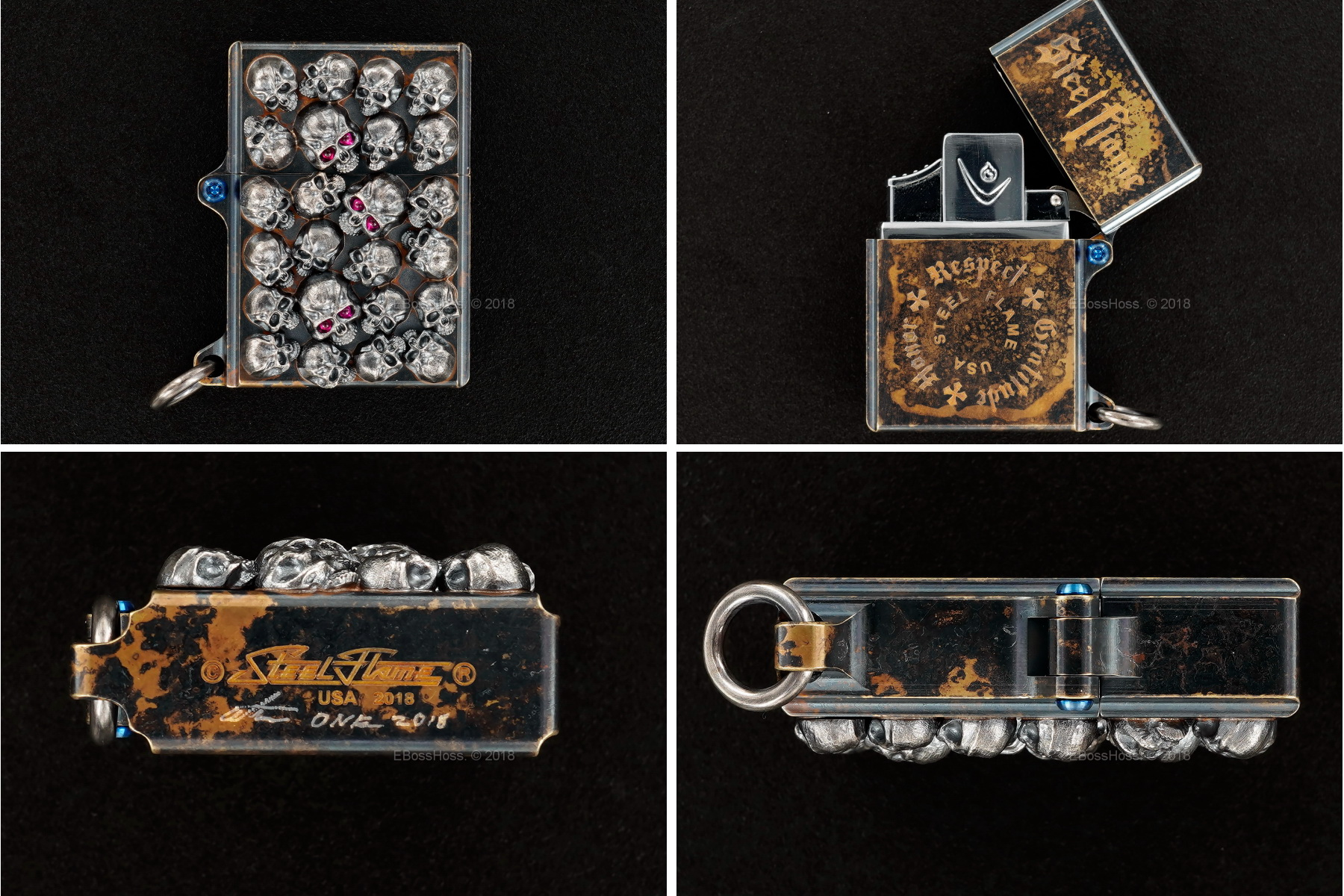 Steel Flame Custom Sledge Lighter - ONE - with Pile of Darkness Skulls in Sterling -- by Derrick Obatake