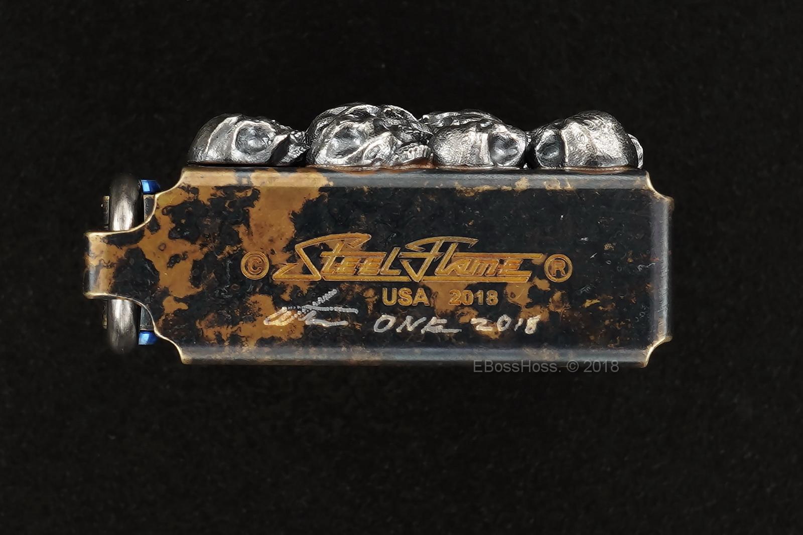 Steel Flame Custom Sledge Lighter - ONE - with Pile of Darkness Skulls in Sterling -- by Derrick Obatake