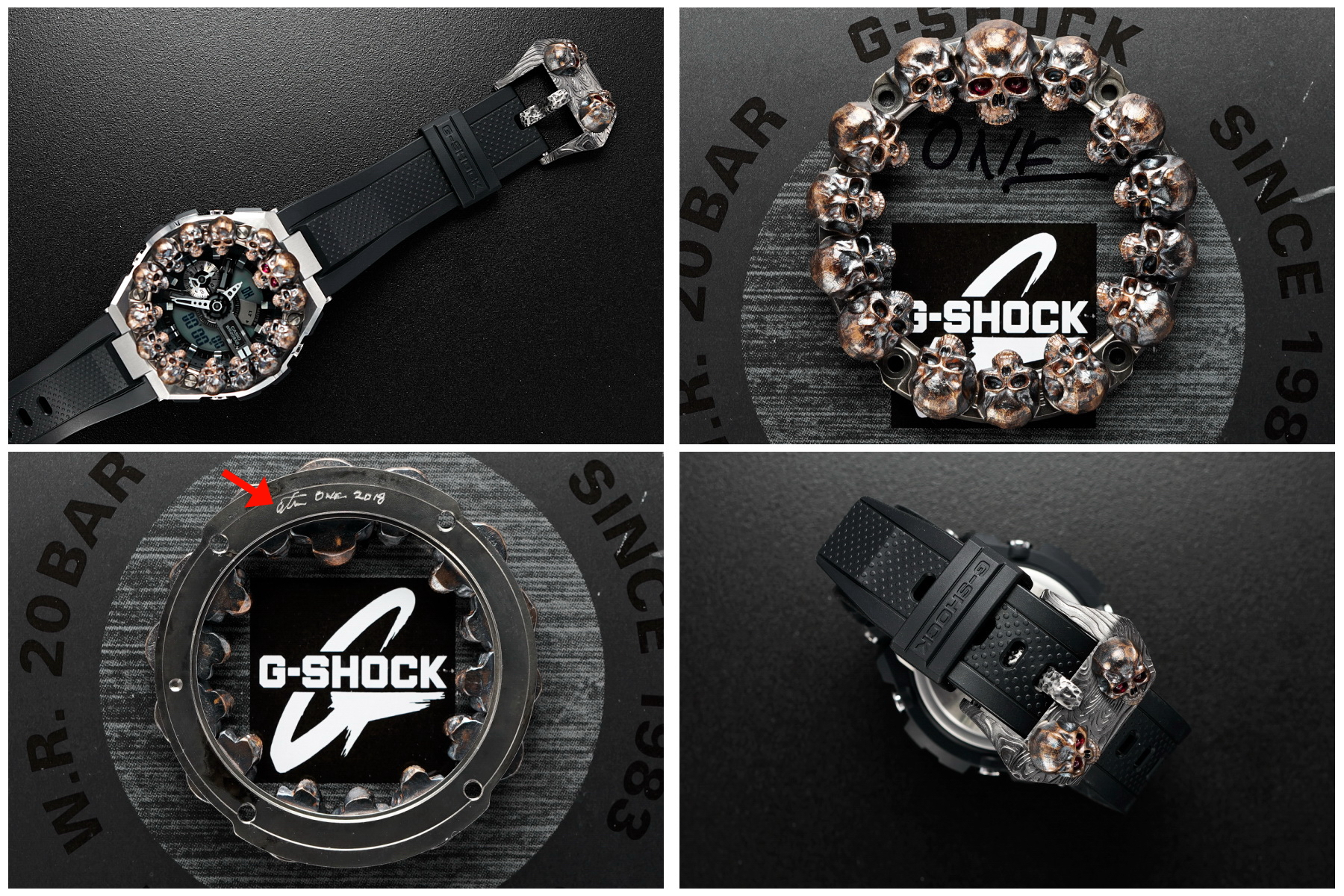 Steel Flame Custom Sledge G-Shock- ONE - with Pile of Darkness Skulls in Bronze-- by Derrick Obatake