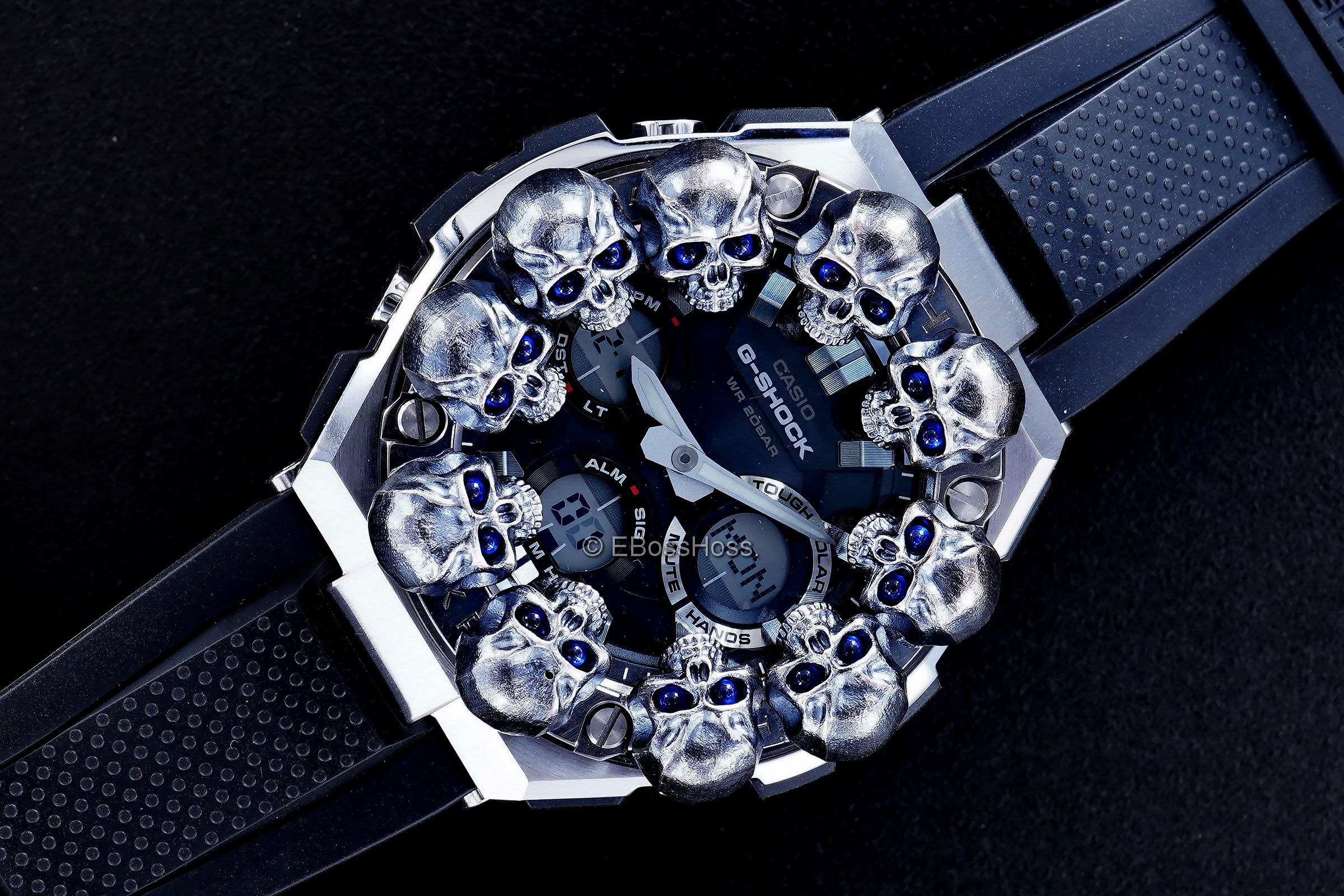 Steel Flame Custom Sterling Silver Warrior Skulls Sledge G-Shock- ONE -- by Derrick Obatake