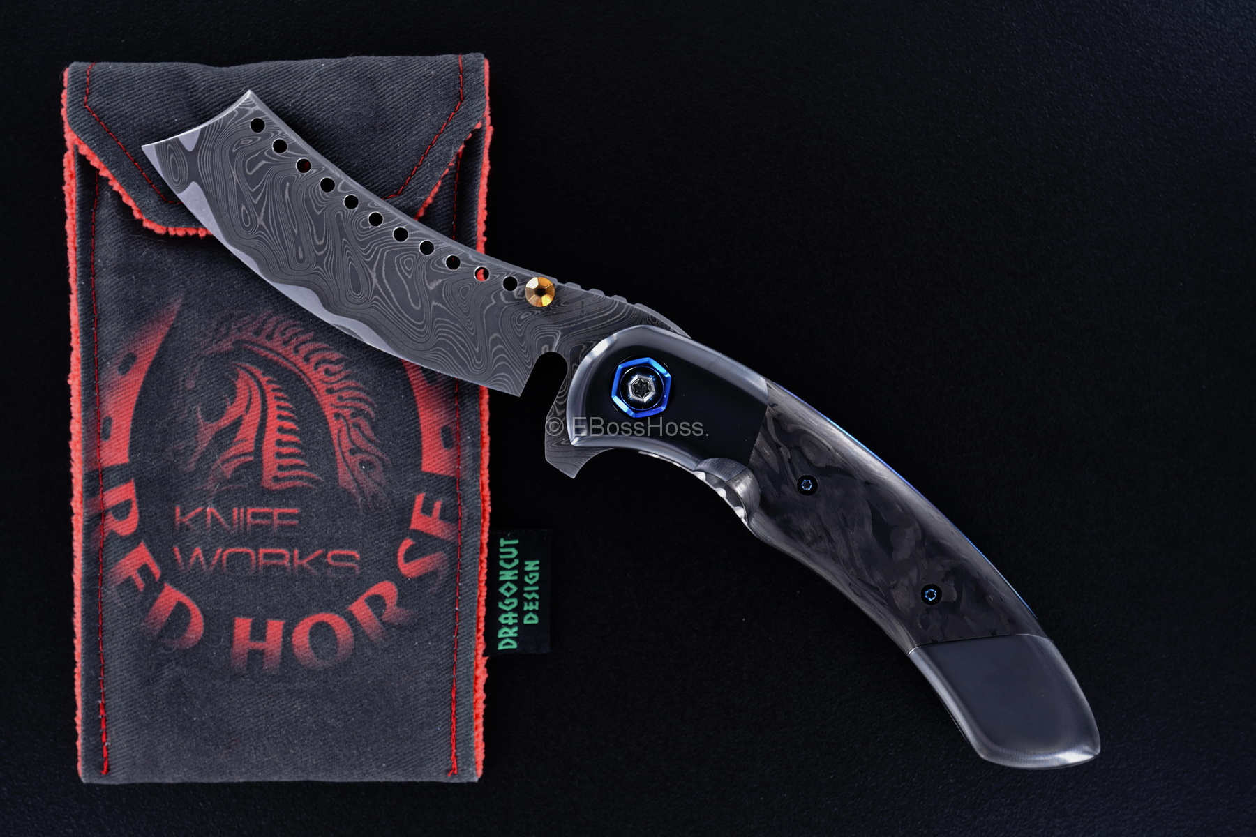 Black Horse Knives Custom Deluxe Black Death Hell Razor Flipper