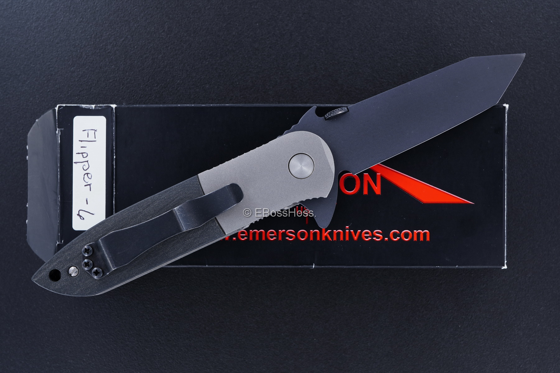 Ernie Emerson Custom Black CQC-6 Flipper w/Wave