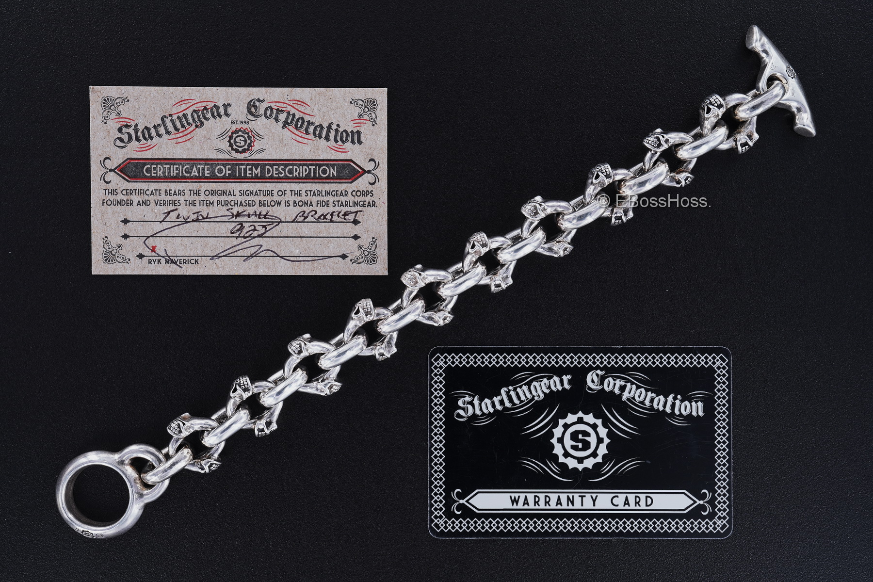 Starlingear Custom Sterling-Silver Twin Skull Bracelet