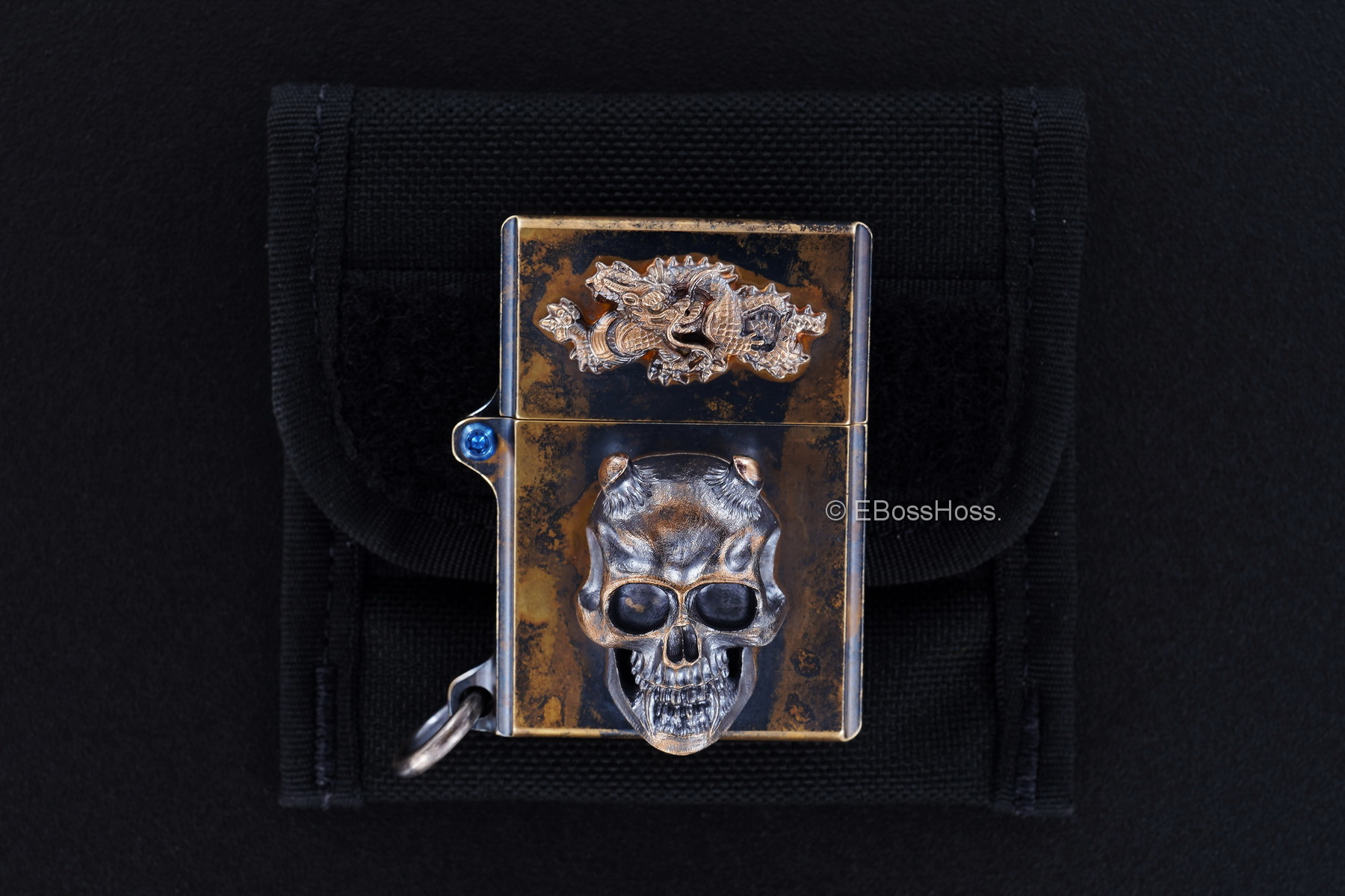 Steel Flame 3D Sledge Brass Lighter - with Hannya Skull & Chinese Dragon