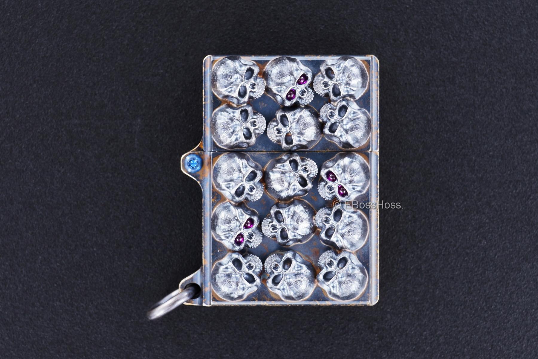 Steel Flame Custom Sledge Lighter - ONE - with Pile of Darkness Skulls -- by Derrick Obatake