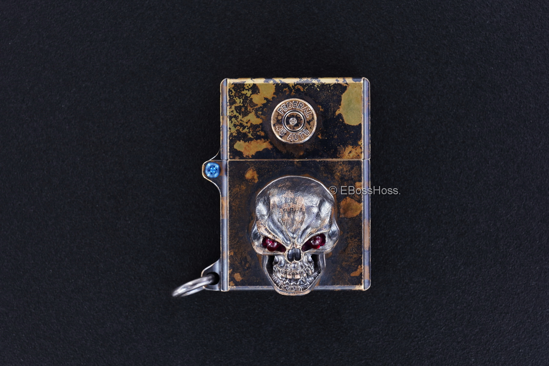 Steel Flame Brass Sledge Lighter - with Bronze XL Hardness Skull